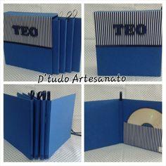 Caixa com cases de cd #dtudoartesanato #artesanato #casedecd #box #arts