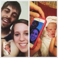 Derick & Jill (Duggar) Dillard facetiming Josh & Anna Duggar and family & their new daughter Meredith Grace Duggar born 7-19-15 (their 4th baby & 2nd daughter). #Duggars #Dillards #19KidsAndCounting