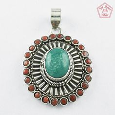 Gorgeous Turquoise & Coral Stone 925 Sterling Silver Pendant From Silvex Images #SilvexImagesIndiaPvtLtd #Pendant