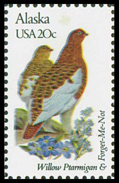 1982 Alaska State Stamp - State  Bird Willow Ptarmigton - State Flower Forget - Me - Not