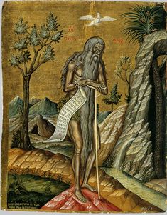 Life of Saint Onouphrios the Anchorite of Egypt Christian Drawings, Christian Art, Byzantine Icons, Byzantine Art, Religious Icons, Religious Art, Onofre, Greek Icons, Religious Paintings
