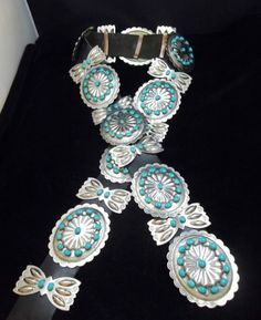 Navajo sterling and turquoise concho belt