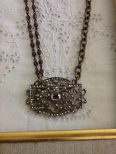 Art Deco Repurposed Vintage Rhinestone Brooch Necklace