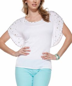 Look what I found on #zulily! White Embellished Flutter-Sleeve Top #zulilyfinds