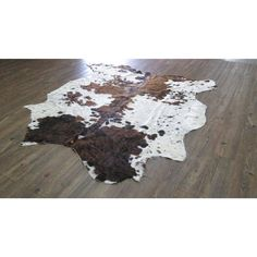 Handmade, Brown, and White Real Cow Hide Rug