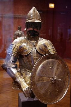 Half-armour and targe for service on foot, via Flickr