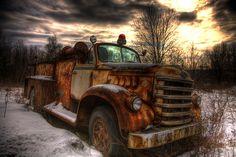 Abandoned fire truck.  Beautiful image!
