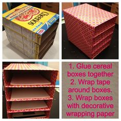 Cereal boxes into paper/mail tray. I did it with gorilla tape instead, it makes it sturdier and I don't have to worry about the wrapping paper ripping: