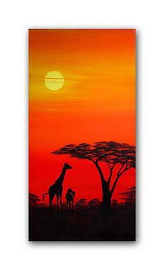 African sunset painting 'Giraffes at dusk' - paintings - African Sunset Paintings Landscape Paintings, Sunset Paintings, Afrique Art, African Sunset, African Paintings, Silhouette Painting, Painting Inspiration, Painting & Drawing, Watercolor Paintings