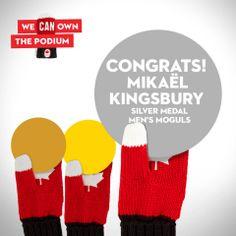 Mikael Kingsbury takes silver in men's moguls!