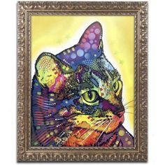 Trademark Fine Art Confident Cat Canvas Art by Dean Russo, Gold Ornate Frame, Size: 11 x 14