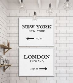 New York and London Art Print Signs