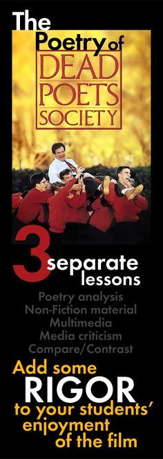 Add rigor to your students' enjoyment of Dead Poets Society with these three separate lessons that focus on the poetry Mr. Keating presents to his students in the film. #DeadPoetsSociety #WaltWhitman