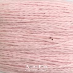 A ColourSpun Pure Cotton yarn and embroidery thread colour swatch. This colour is called Palest Pink. #cotton #colour #yarn Colour Swatches, Super Chunky Yarn, Fabric Yarn, Embroidery Thread, Pale Pink, Fabric Design, Cotton