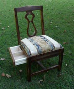 Designed as a sewing chair with underside storage, but could also be used to hold napkins and utensils! Mixed Dining Chairs, Blue Velvet Dining Chairs, Reupholster Furniture, Furniture Repair, Small Sewing Space, Knitting Room, Storage Chair, Swivel Rocker Recliner Chair, Love Chair