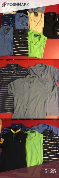 Polo Ralph Lauren Lot 10 Polos Size (S) Small 10 Polo Ralph Lauren Polo's in great condition! They show normal sign of use but overall in great condition. I am willing to to negotiate and more than happy to answer any questions! Only one shirt shows small sight of stains and that is the white one with navy stripes. 3 dots on the bottom. Look forward to your purchase! I couldn't post all of the pictures because I did not have enough room! Cheers! Polo by Ralph Lauren Shirts Polos