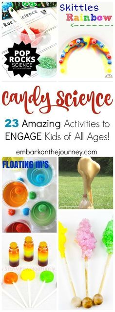 Whether you have your kids melting, dissolving, mixing, or manipulating candy, they're going to have a blast trying these candy science experiments! | @homeschljourney via @letsembark