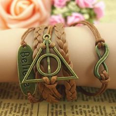 """Infinity Believe"" Vintage Harry Potter Deathly Hallows Bracelet,Bracelet for Girls,Women"