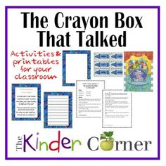 The Crayon Box That Talked – Activities and Resources for your classroom |  FREE |  The Curriculum Corner | Kindergarten