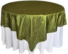 Olive Pintuck Table Overlay provided by Waterford Event Rentals.