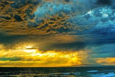 Rain storm, Sunset in Huntington Beach, California