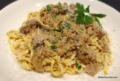 Fettuccine with Porcini, Sausage, and Cream