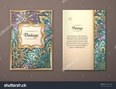 Vintage Cards With Floral Mandala Pattern And Ornaments. Vector Flyer Oriental Design Layout Template, Size A5. Islam, Arabic, Indian, Ottoman Motifs. Front Page And Back Page. Easy To Use And Edit. - 394051669 : Shutterstock