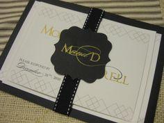 black, white + gold custom wedding invites #joiedeviepaperie #blairbrittevents #gocco
