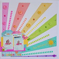#papercraft #scrapbook #layout. Doodlebug Design Inc Blog: Vellum: Rainbow of Colored Vellum Layout by Aimee Kidd.