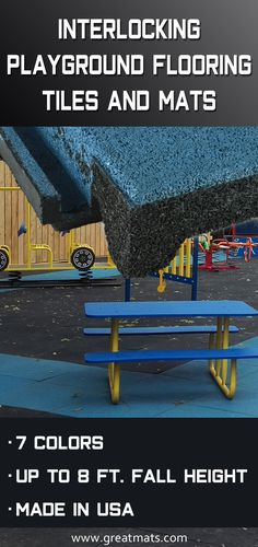 Interlocking playground tiles are available in ft rubber tiles. Use interlocking outdoor rubber playground tiles schools and park playgrounds. Playground Mats, Playground Safety, Preschool Playground, Playground Flooring, Outdoor Playground, Outdoor Play Areas, Outdoor Spaces, Backyard For Kids, Backyard Ideas