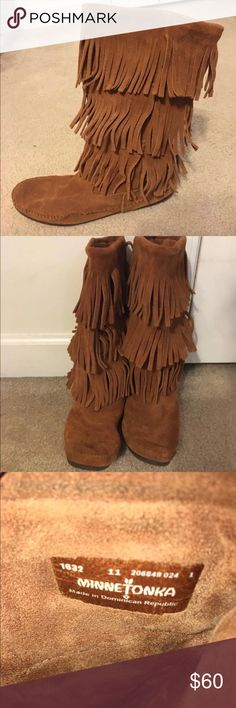 Minnetonka 3-Layer Fringe Boots Minnetonka 3 Layer Fringe Boots - Size 11 (fits like a 10)   These are in great condition. I bought them full price 2 years ago and have only worn them  three times at the most. They have just been sitting in my closet since. Minnetonka Shoes Winter & Rain Boots