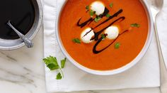 Sophisticated comfort food at its finest! Cream of Roasted Red Pepper Soup with Bocconcini from Tre Stelle. Roasted Red Pepper Soup, Roasted Garlic, Canadian Cheese, Cheese Alternatives, Hot Soup, Red Peppers, Soups And Stews, Food Inspiration, A Food