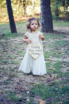 Bridesmaid rustic wedding October daddy here comes mommy