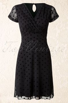 King Louie - 50s Virginia Flock Dress in Black Mesh