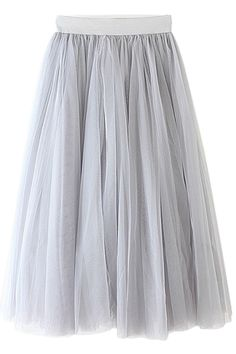 Voile Solid Color A-Line Skirt GRAY: Skirts | ZAFUL