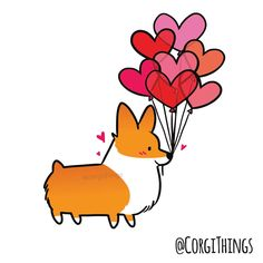 CORGI WITH BALLOON HEARTS