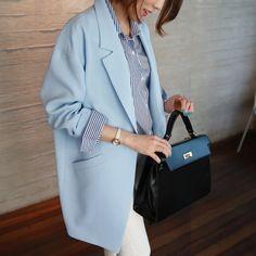 Модные 2017 весна новые свободные улица средний cocoon долго женщина карманы большой синий костюм женский пиджак тонкий пиджаки купить на AliExpress