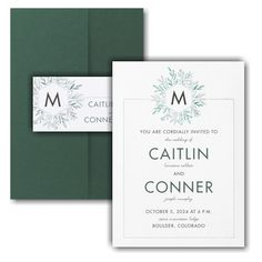 Greenery Initial Pocket Wedding Invitation Icon Discount Wedding Invitations, Pocket Wedding Invitations, Online Fonts, Matching Cards, Lettering Styles, Foil Stamping, Response Cards, Monogram Initials, White Envelopes