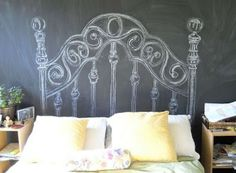 Chalkboard headboard-already thinking about the girls new room! Chalkboard wall behind the twin beds would be so cute and fun! Cool Headboards, Faux Headboard, Headboard Ideas, Painted Headboard, Teen Headboard, Custom Headboard, White Headboard, Diy Headboards, Cool Ideas