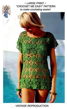 Crochet Blusas Crochet TOP Pattern Vintage Crochet Bikini COVER UP Top crochet Blouse pattern crochet dress pat - Vintage Crochet Pattern ♥ Crocheted blouse pattern♥´¨)¸. Blouse Au Crochet, Bikini Crochet, Crochet Shirt, Pull Crochet, Knit Crochet, Crochet Tops, Flower Crochet, Crochet Woman, Crochet Motifs