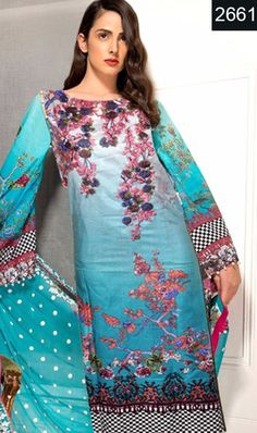 WYFD-2661 - NECK Embroidery Designer 3PC Lawn Suit With CHIFFON DUPATTA - SUMMER COLLECTION 2017 / 2018