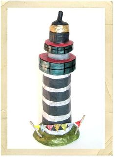 paper mache lighthouse by #OliveLoafDesign