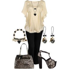 Plus Size Work in Black & Cream, created by elise1114 on Polyvore