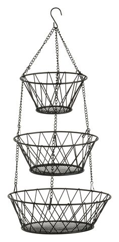 Black 3 Tier Hanging Fruit Basket