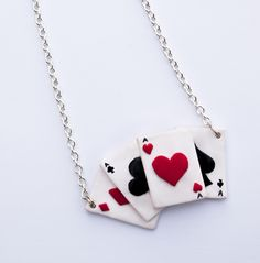 polymer clay cards necklace