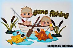 ELITE4U FISHING BOY paper piecing premade scrapbook page album border WOLFFEY5