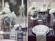 Tablescape:  textured look, plate sets and simple gray napkins were very clean and modern, The antique silver vases, the blue perfume bottles, and the 'candlestick holders' were glass bottles with the stems wrapped in Spanish moss. Krista incorporated succulents, ranunculus, pussy willow, dusty miller, sweet pea, anemone and Spanish moss into the floral designs,