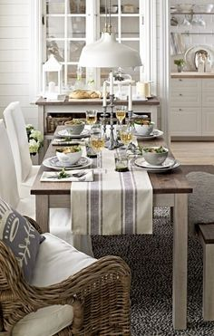 Coastal table runner with blue stripes