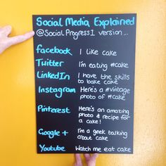 """There are a few of these floating around so we thought we'd put our own Social Progress spin on """"Social Media Explained"""". Here's our version based on - yes, you guessed it - CAKE!! What would your version say? #socialmedia #Facebook #Twitter #Linkedin #Instagram #Pinterest #GooglePlus #YouTube"""