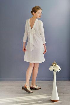 Linen Dress With Open Back/Linen Elegant Dress/ Linen Dress
